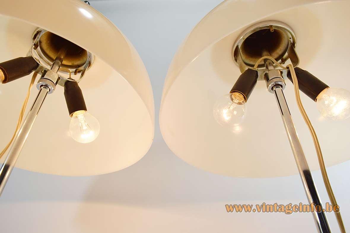 Harvey Guzzini Faro table lamps white acrylic mushroom lampshade 2 E14 lamp sockets 1970s Italy