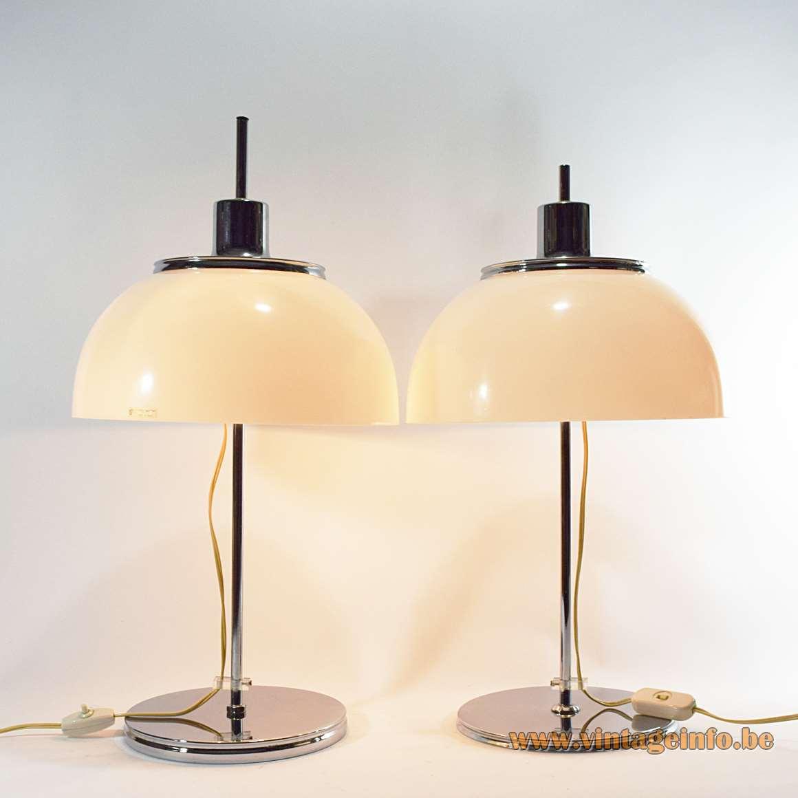 Harvey Guzzini Faro table lamps white acrylic mushroom lampshade chrome flat round base & rod 1970s Italy