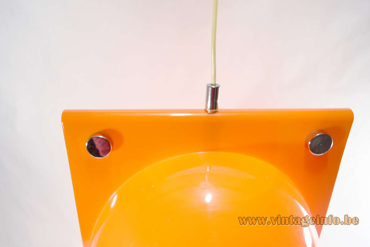 Harvey Guzzini Orione pendant lamp orange acrylic lampshade chrome nuts 1968 design: Lampa & Brazzoli 1960s 1970s