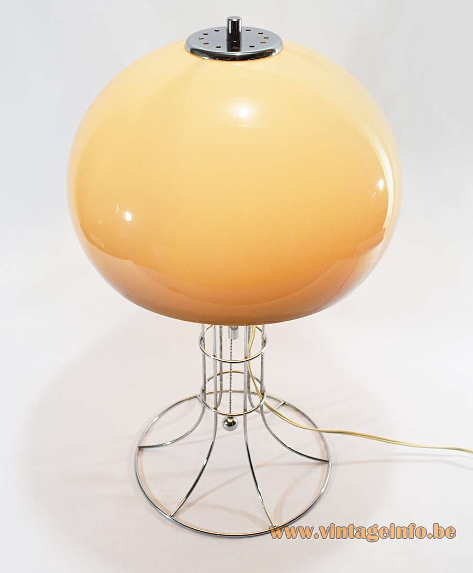 Herda mushroom table lamp chrome wire base and a brown acrylic globe lampshade pull cord switch 1970s