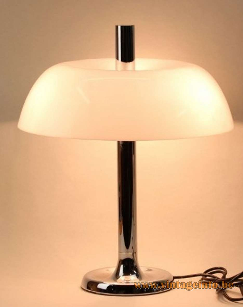 Hillebrand table desk lamp 7377 white acrylic lampshade chrome 1970s MCM Germany mushroom