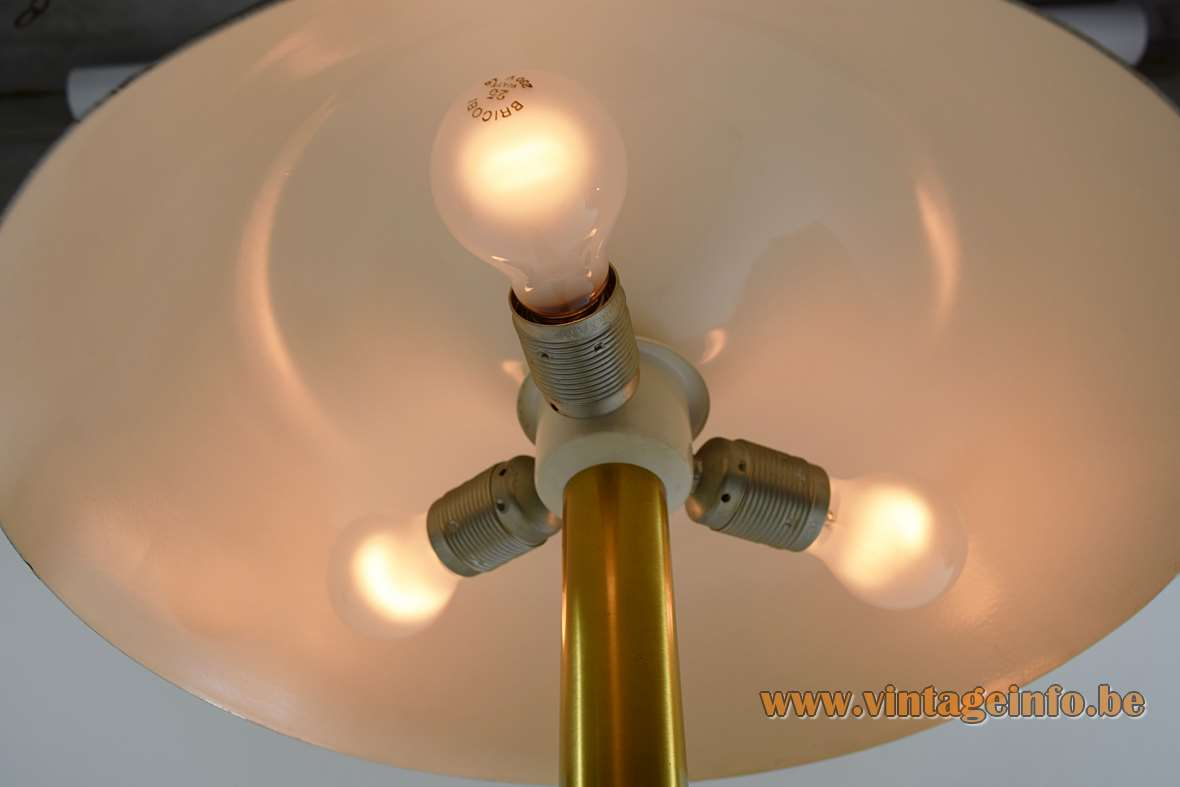 Hillebrand table desk lamp 7377 black aluminium lampshade brass rod 1970s MCM Germany mushroom - 3 bulbs