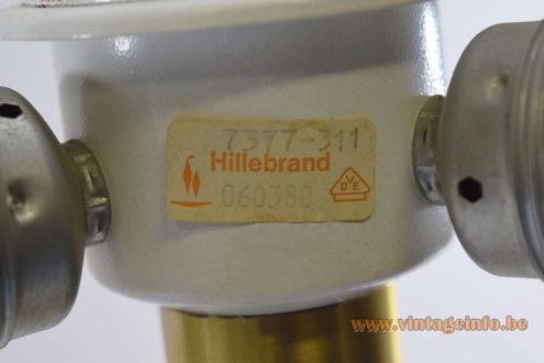 Hillebrand table desk lamp 7377 black aluminium lampshade brass rod 1970s MCM Germany mushroom label