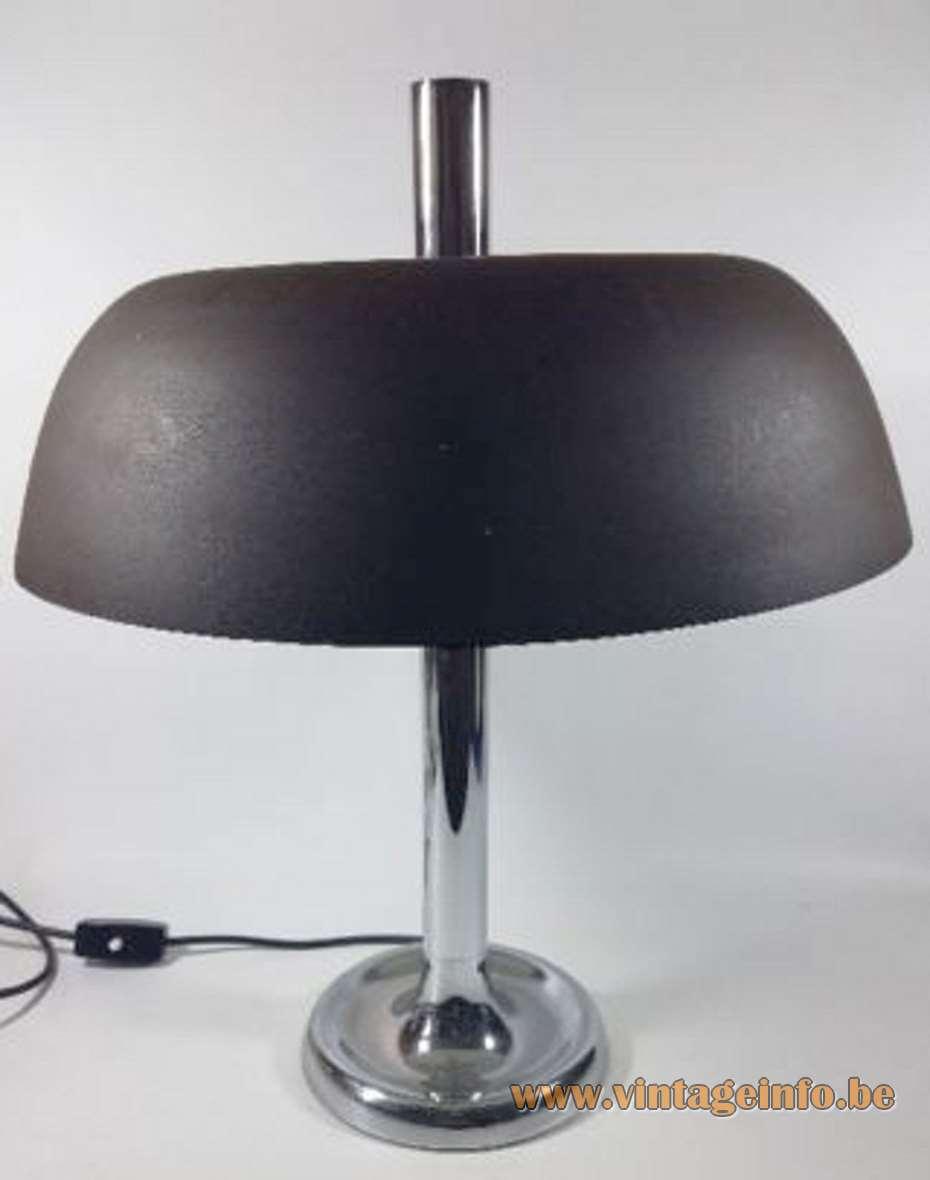 Hillebrand table desk lamp 7377 brown aluminium lampshade chrome 1970s MCM Germany mushroom