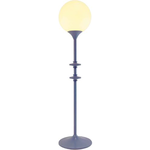 1960s indigo globe table lamp round base long purple rod opal glass lampshade Leclaire & Schäfer Germany