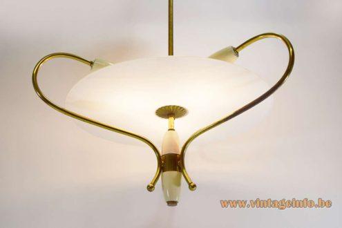 1950s Italian Glass Disc Chandelier frosted brass white enameled MCM 3 lights