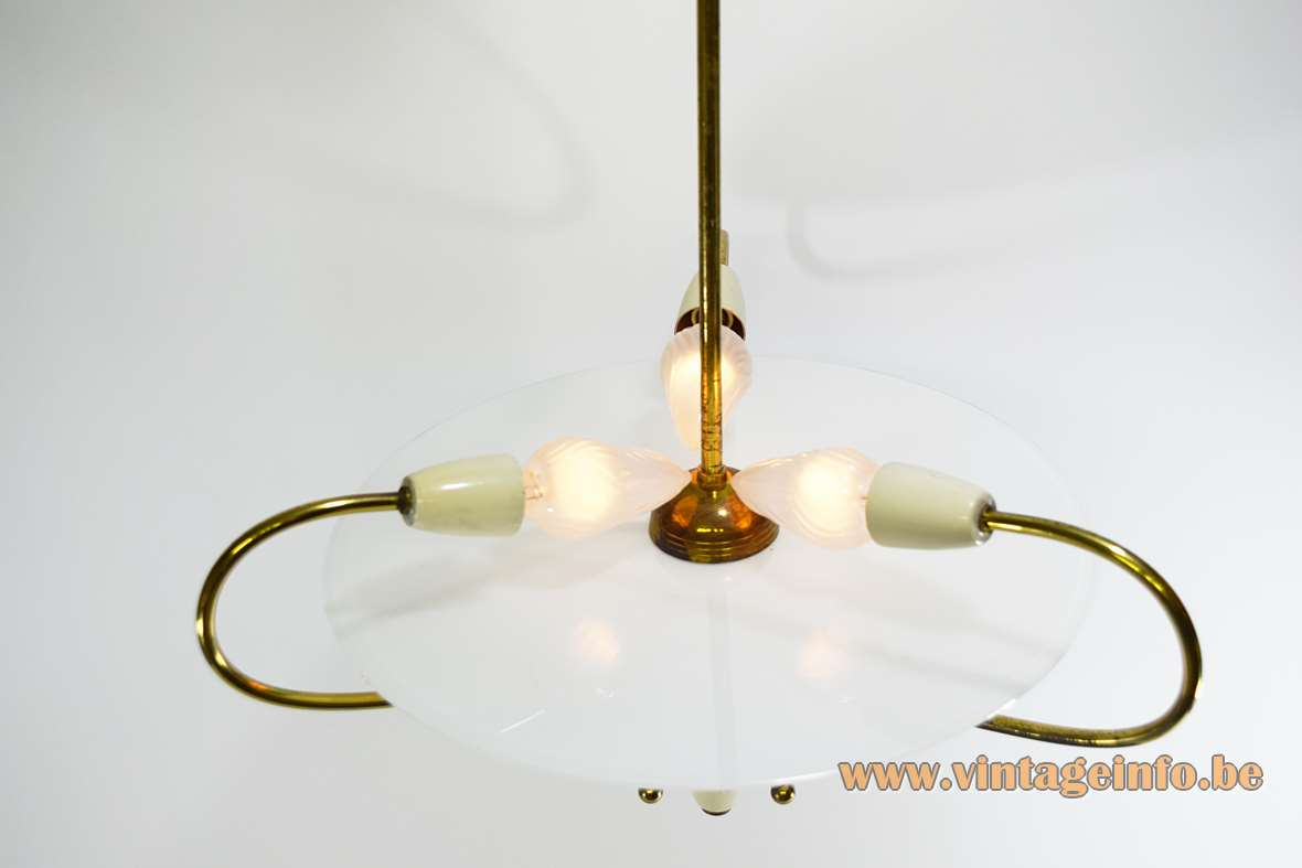 1950s Italian Glass Disc Chandelier frosted brass white enameled MCM 3 lights