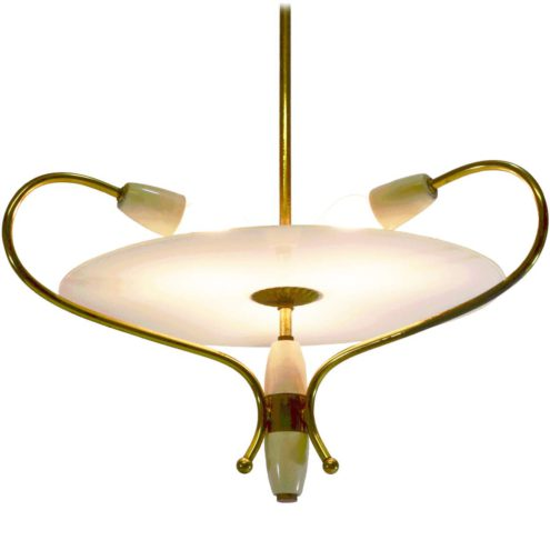 1950s Italian glass disc chandelier with a big frosted disc and brass curved rods 3 lights
