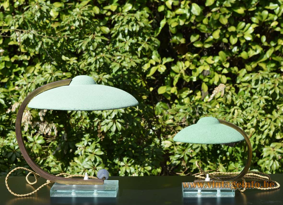 Italian art deco desk lamps mint green lampshade glass base curved brass rod 1920s 1930s 1940s wrinkle paint Bauhaus