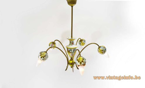 Italian Gilded Porcelain Chandelier hand painted leaves flowers 5 brass curved rods 1950s 1960s MCM