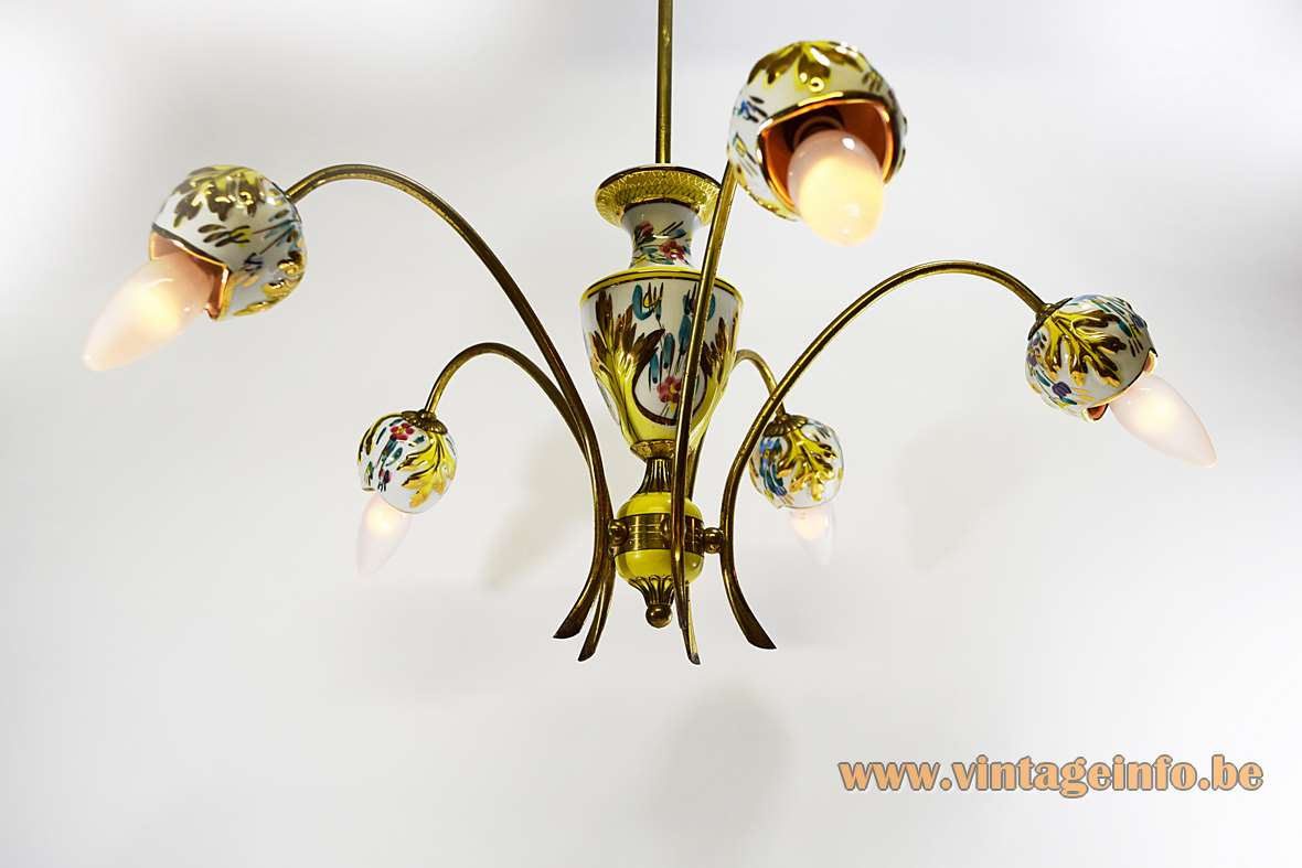 Italian gilded porcelain chandelier with hand painted leaves flowers 5 brass curved rods 1950s 1960s
