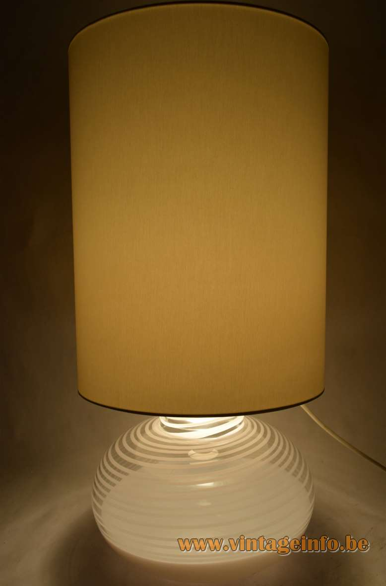 La Murrina table lamp design: Lino Tagliapietra clear white striped Murano glass base fabric lampshade 1960s 1970s