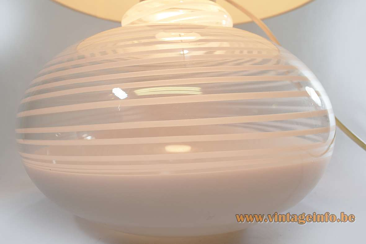 La Murrina Table Lamp 1970s Murano Italy stripes glass white hand blown Lino Tagliapietra