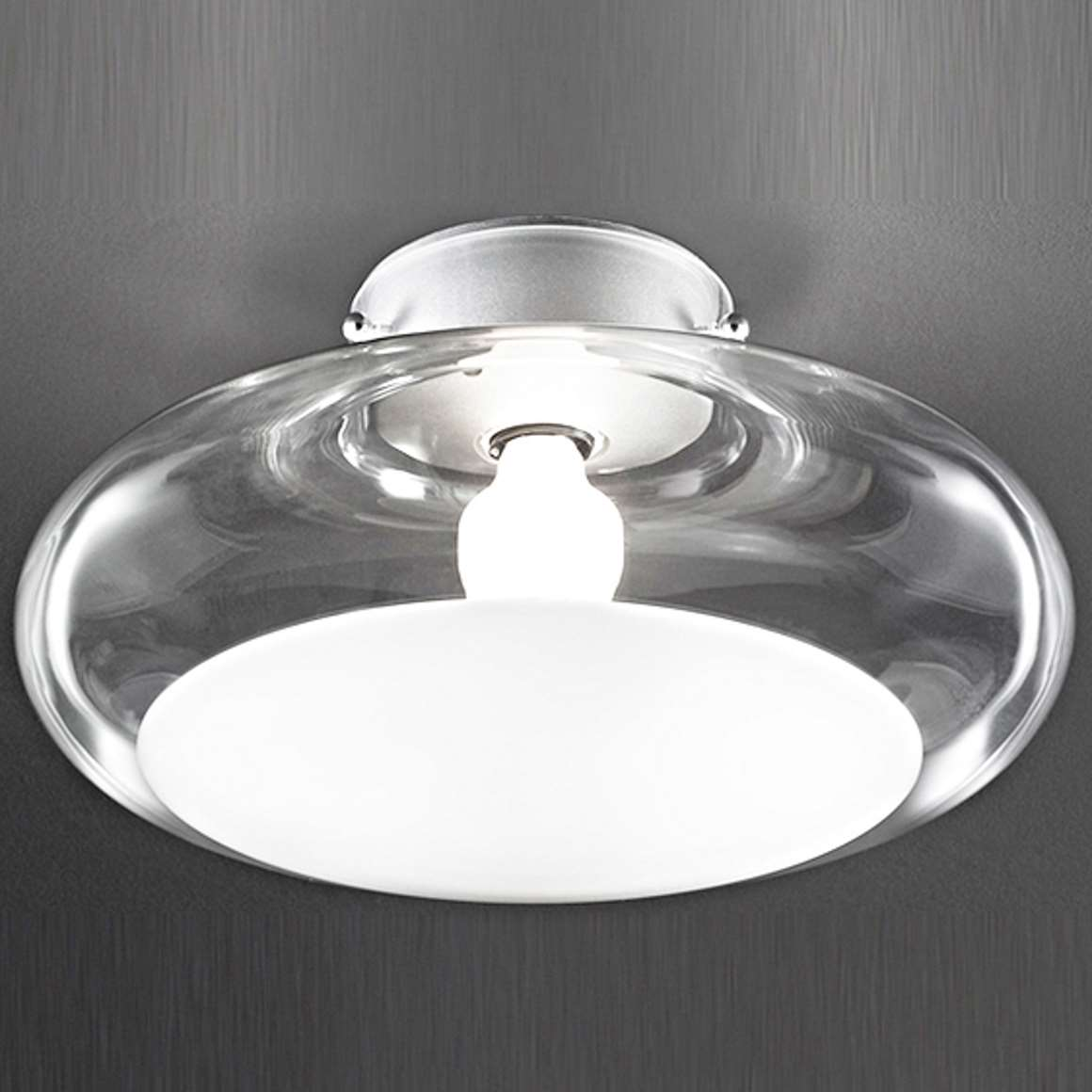 Leucos Gill Flush Mount or Wall Lamp clear & white mushroom round glass Roberto Pamio design 1960s
