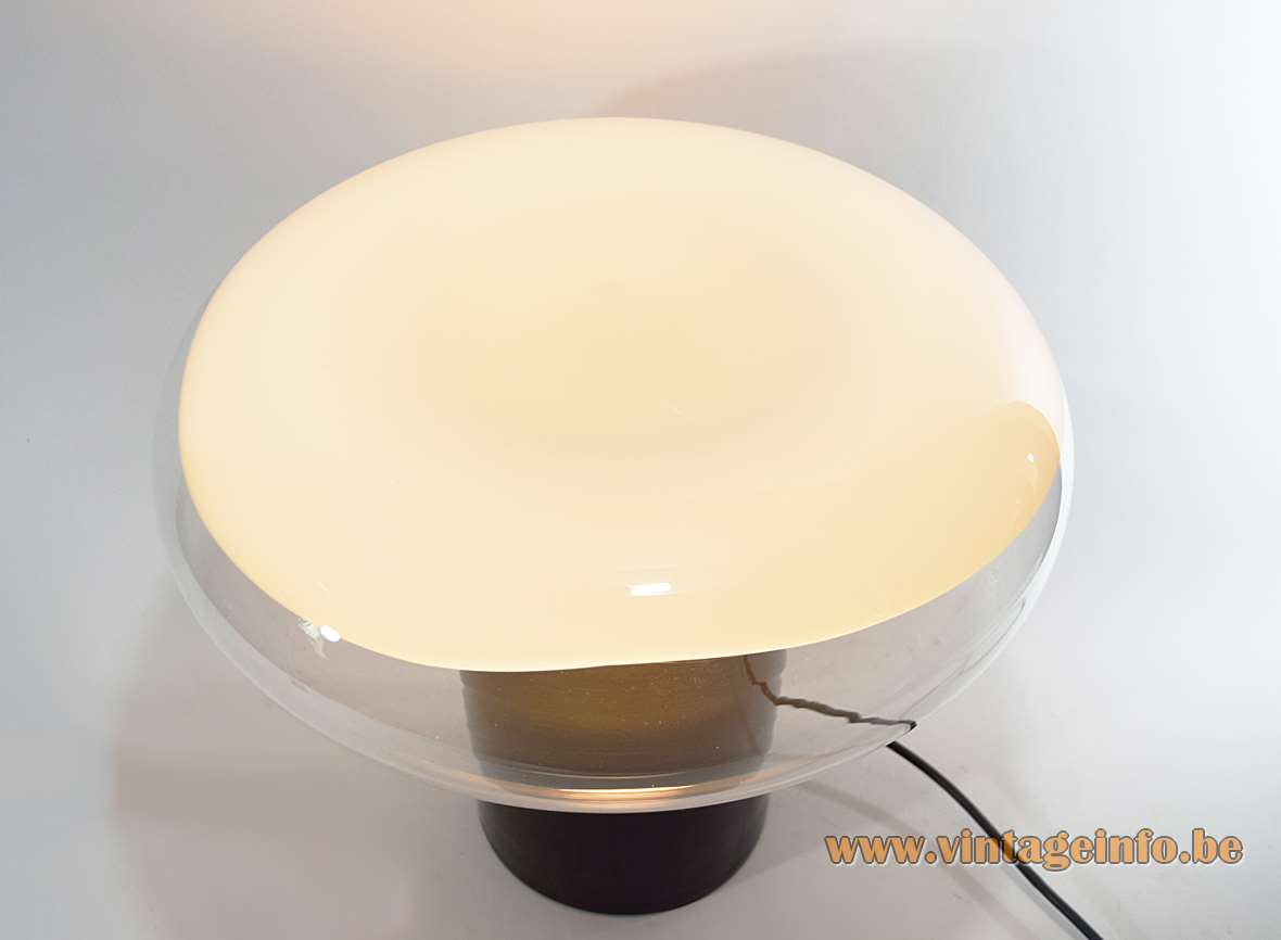Leucos Gill Table Lamp black round glass base clear & white mushroom lampshade Roberto Pamio design 1960s