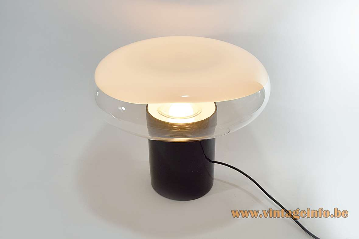 Leucos Gill table lamp design: Roberto Pamio black Murano glass base clear & white mushroom lampshade 1960s