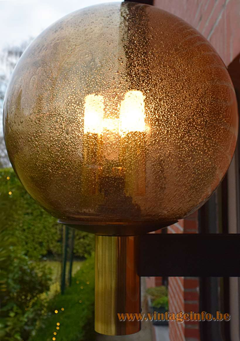 Glashütte Limburg bubble glass garden wall lamp in brass with 3 E14 bulbs inside a globe