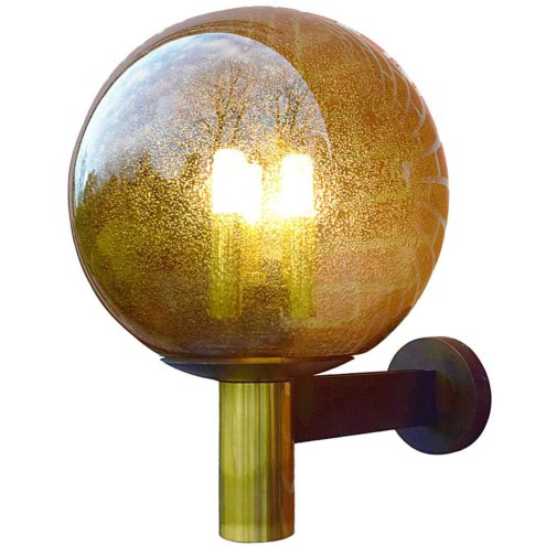 Glashütte Limburg bubble glass garden wall lamp in brass with 3 E14 bulbs inside a globe