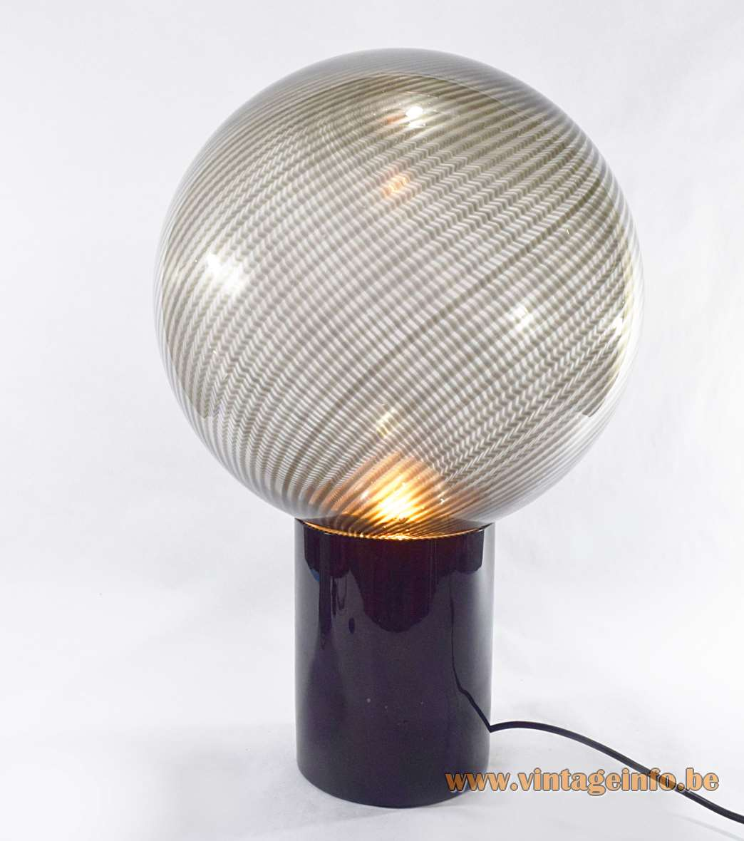 Lino Tagliapietra globe table lamp in black striped clear hand blown Murano by La Murrina