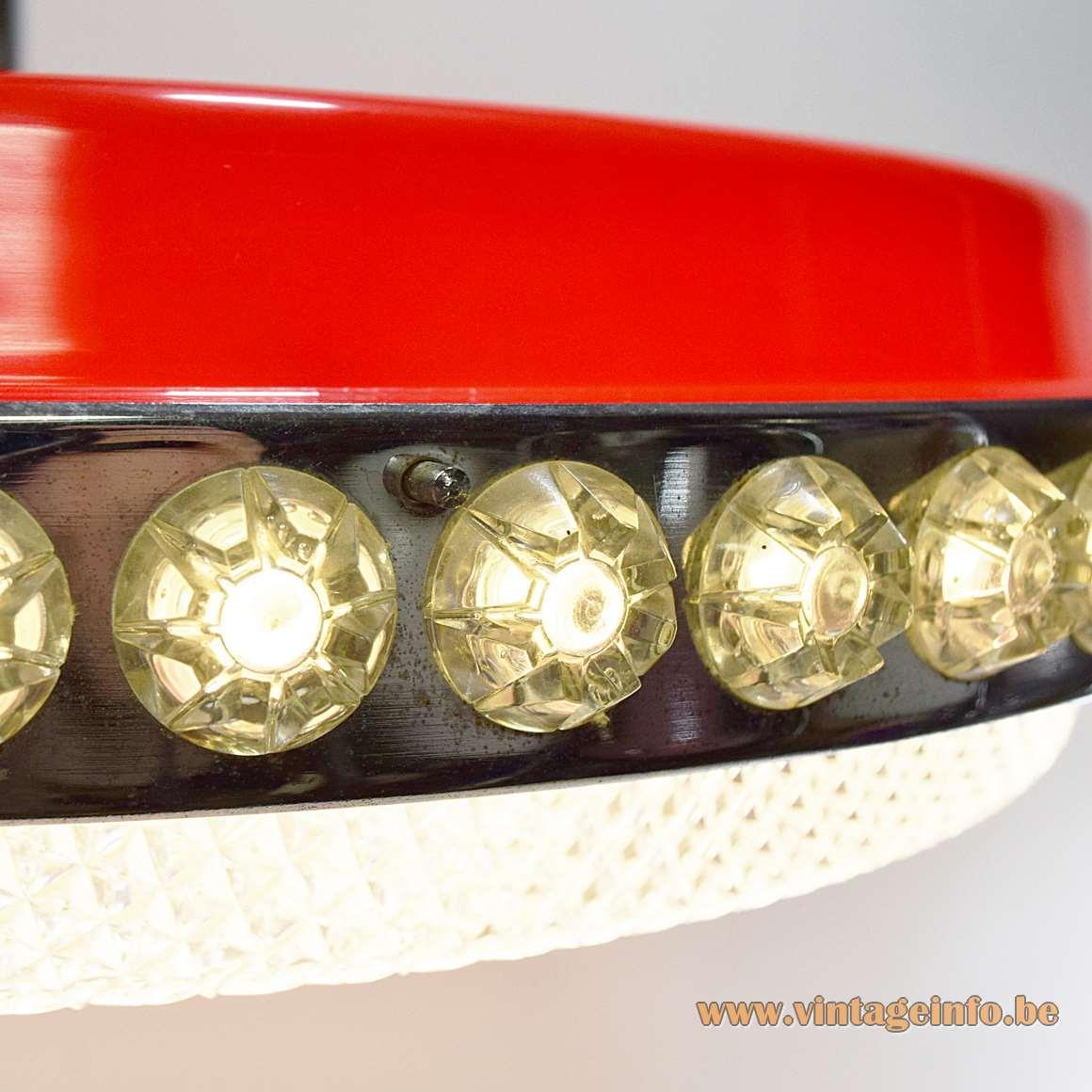 Liro UFO Pendant Lamp plastic stars round fluorescent tube chrome ring 1960s 1970s MCM
