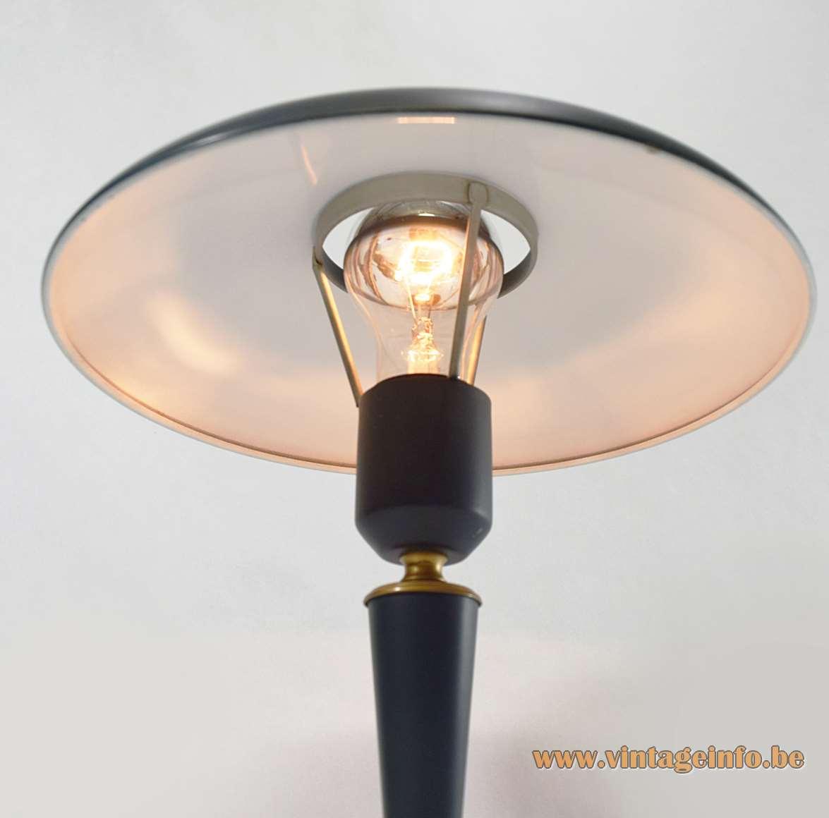 Louis Kalff desk or table lamp Bijou green mushroom lampshade tripod base Philips E27 socket 1950s 1960s MCM Mid-Century Modern