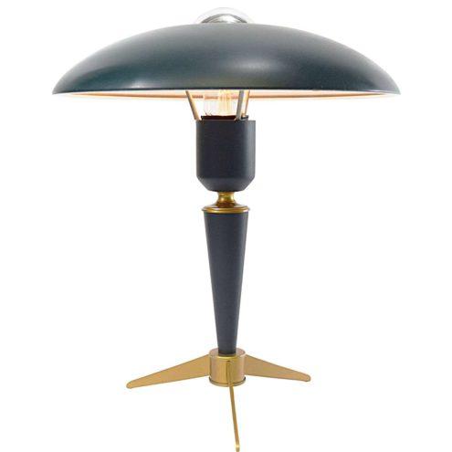 Louis Kalff Bijou desk lamp tripod brass base green mushroom lampshade 1960s 1970s Philips E27 socket