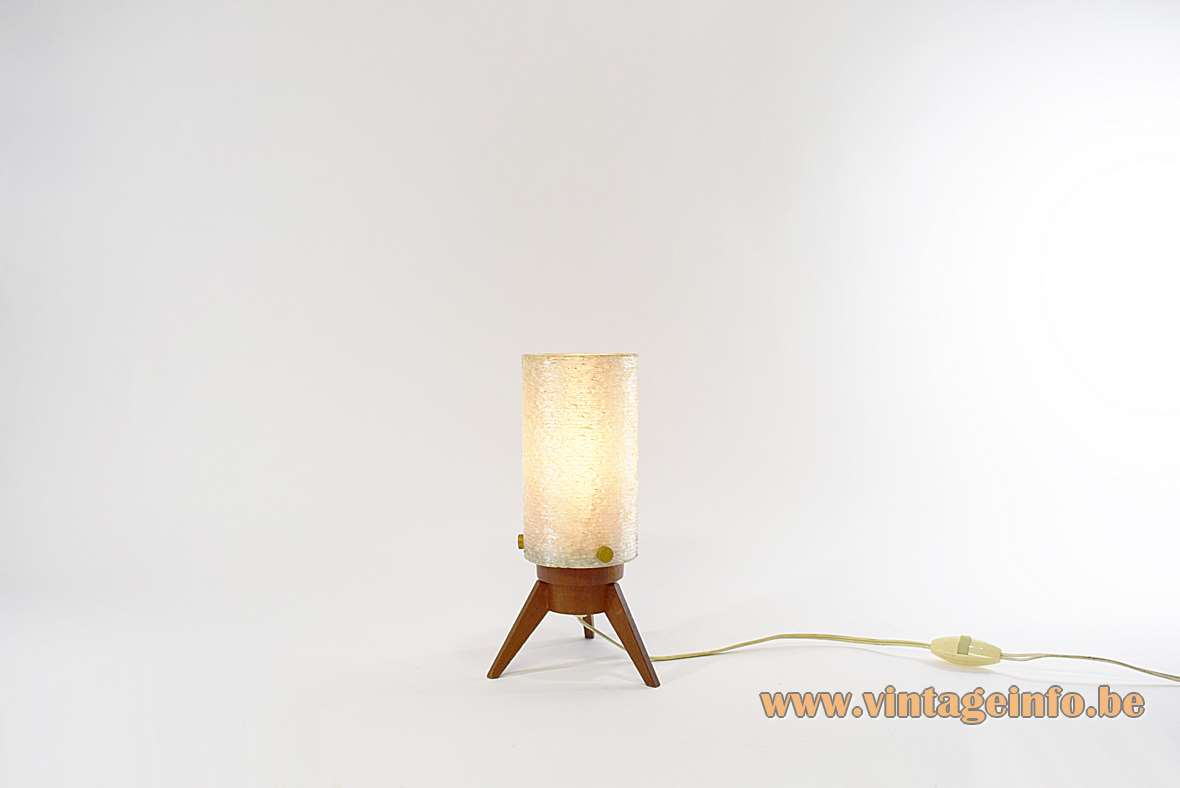 Maison Arlus Tripod Table Lamp teak base acrylic Rhodoid opal sugar tube lampshade brass screws 1960s MCM