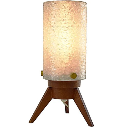 Maison Arlus Tripod Table Lamp teak base acrylic Rhodoid opal sugar tube lampshade brass screws 1960s MCM