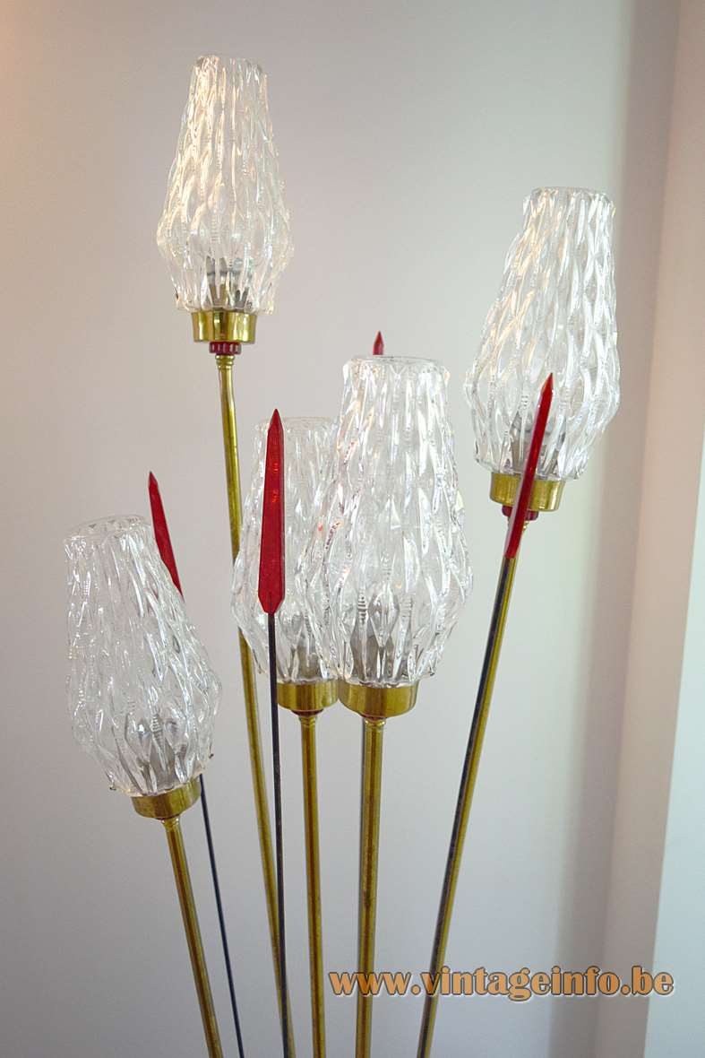 Lunel 1950s Floor Lamp, brass, iron, translucent red acrylic arrows, 5 glass lampshades