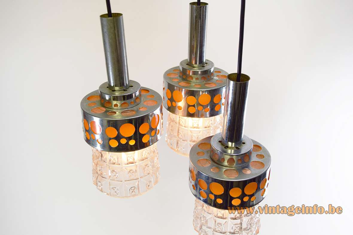 Massive Belgium triple pendant lamp chrome & orange circles pressed glass lampshades 1960s 1970s Raak The Netherlands