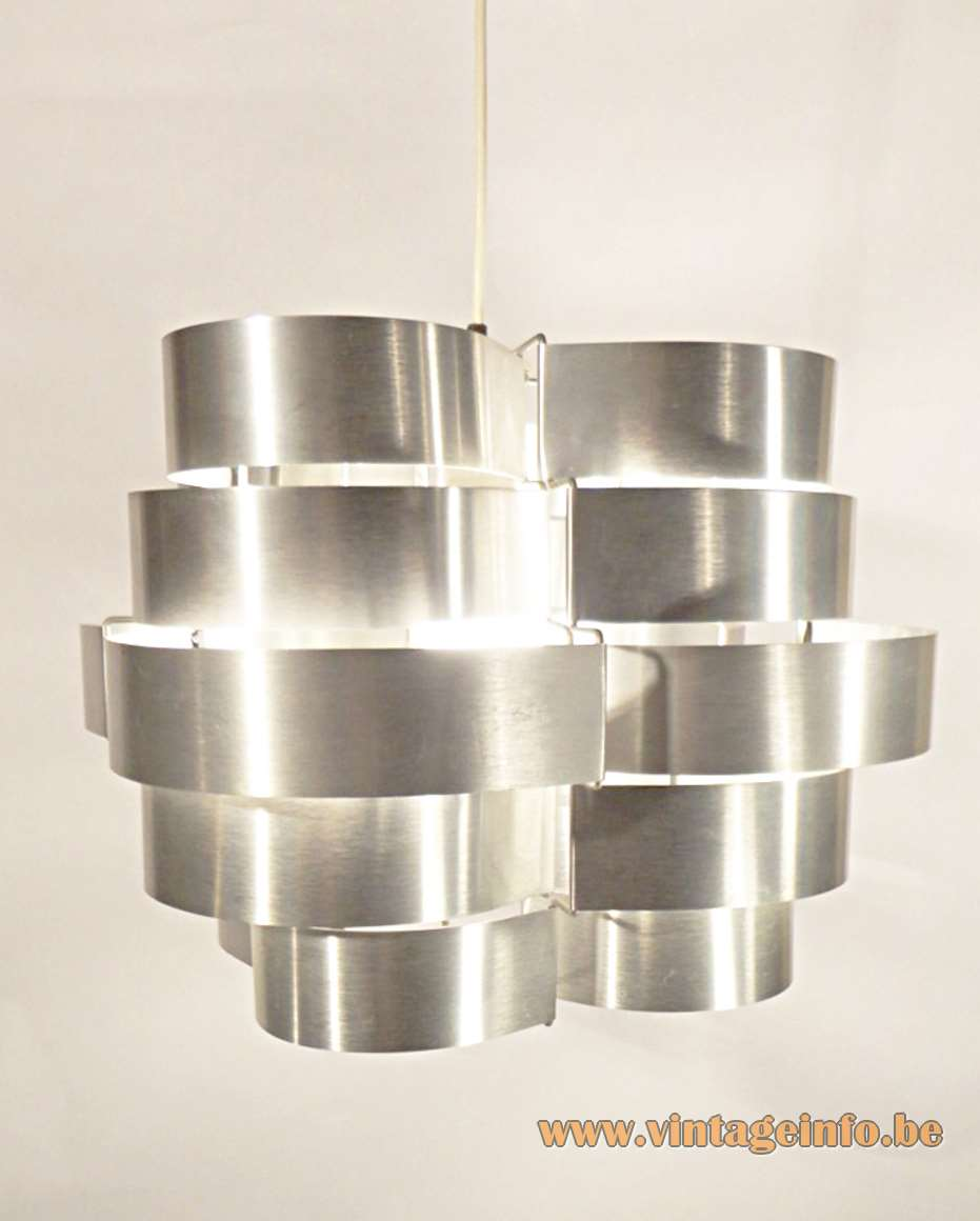 Max Sauze aluminium pendant lamp made in the 70s of folded slats designed by Max Sauze