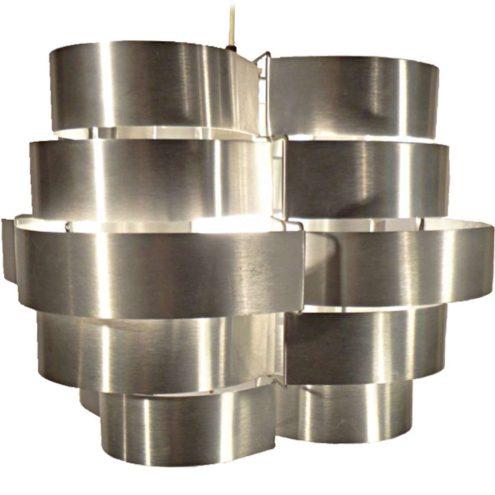 Max Sauze aluminium pendant lamp made in the 70s of folded slats designed by Max Sauze