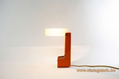 Nanbu Ell Table Lamp orange white acrylic 1970s Vademecum Joe Colombo Kartell MCM Japan