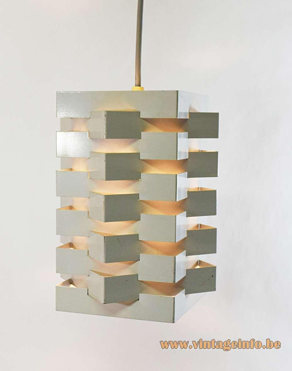 Nordisk Solar pendant lamp white metal square folded slats stacked crosswise design: Esmann & Jensen 1960s Denmark