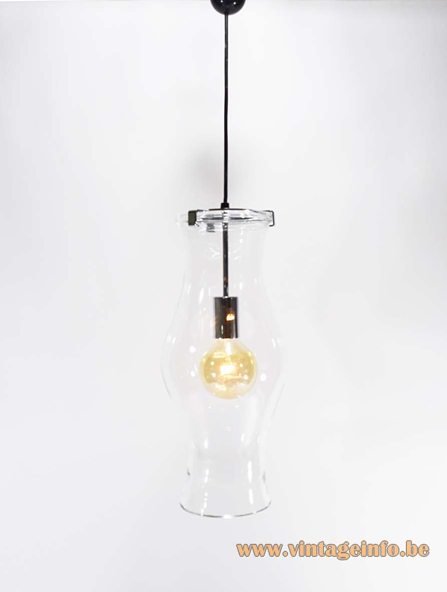 Peill + Putzler Clear Glass Pendant Lamp hand blown 1970s chrome MCM mid-century modern