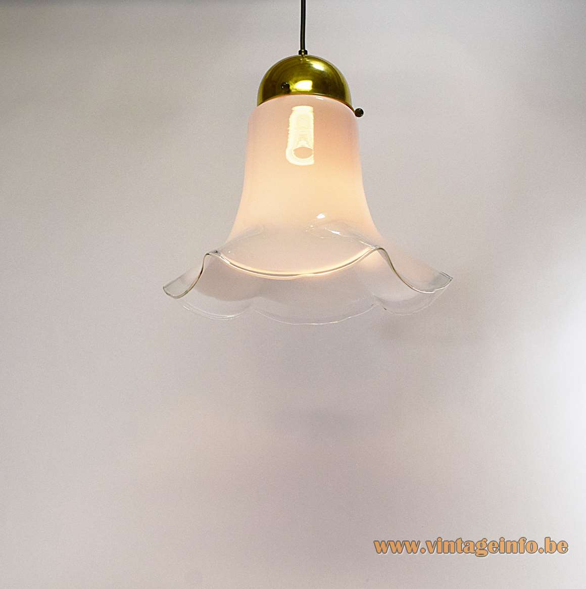 Peill + Putzler Petunia Pendant Lamp hand blown clear and white glass flower petticoat chandelier 1960s 1970s MCM