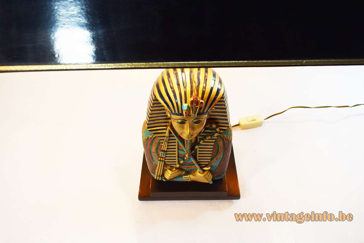 Phanera Pharaoh table lamp in black wood and gold blue resin with a black pagoda lampshade