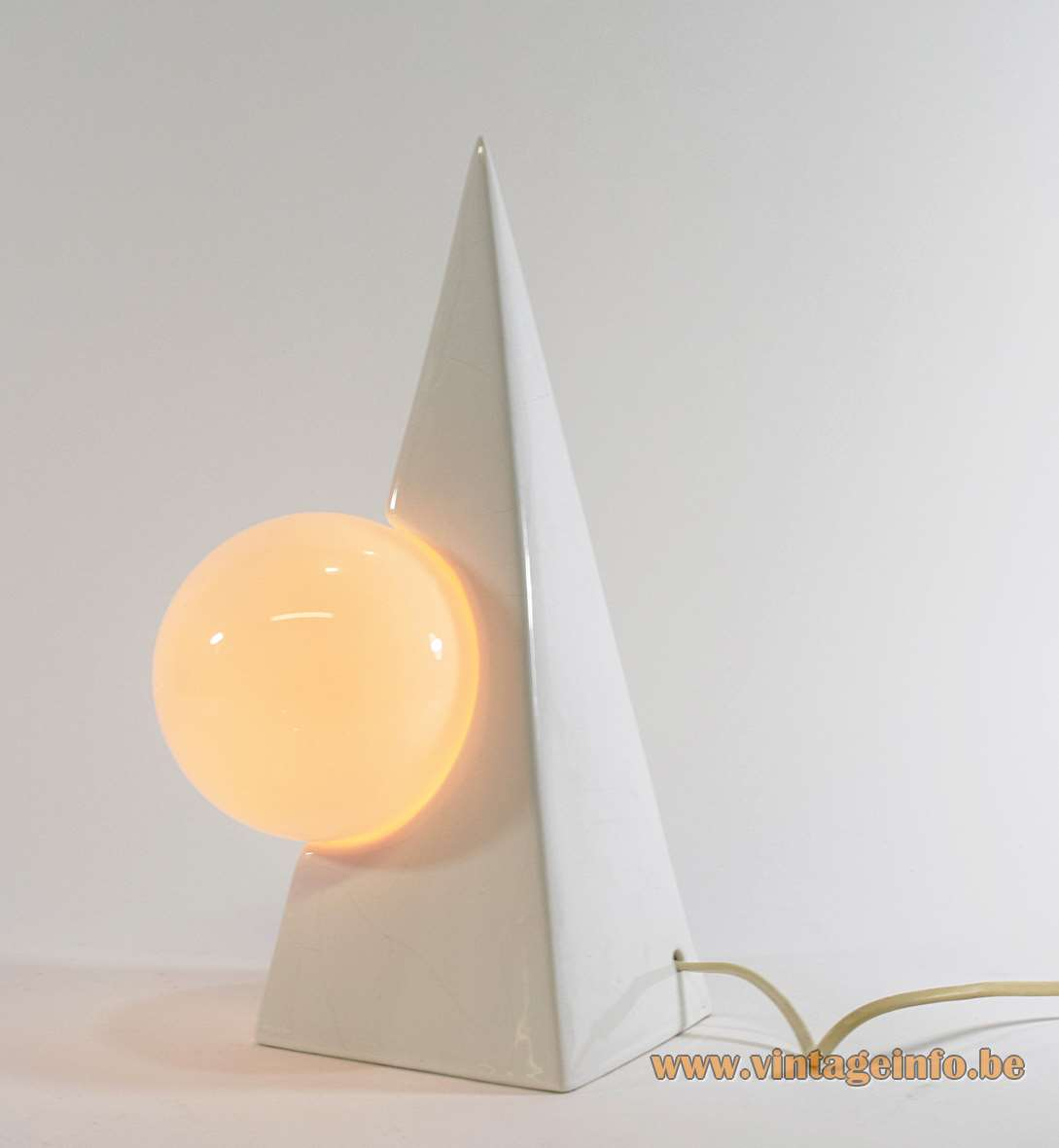 1980s Pyramid Globe Table Lamp white glazed ceramics opal glass Memphis style Massive Belgium