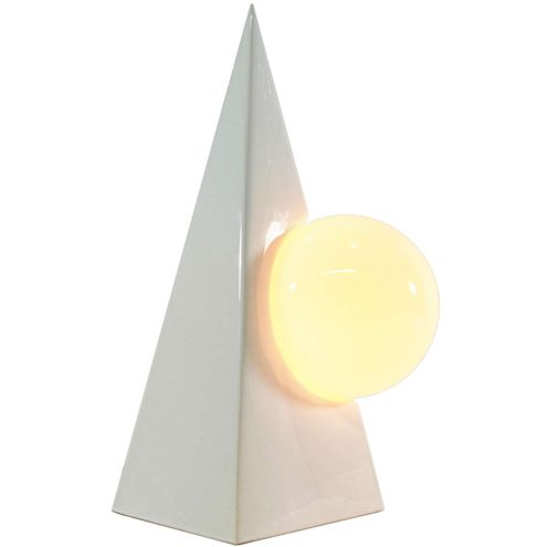 1980s pyramid globe table lamp white ceramics porcelain square base opal glass globe Massive Belgium
