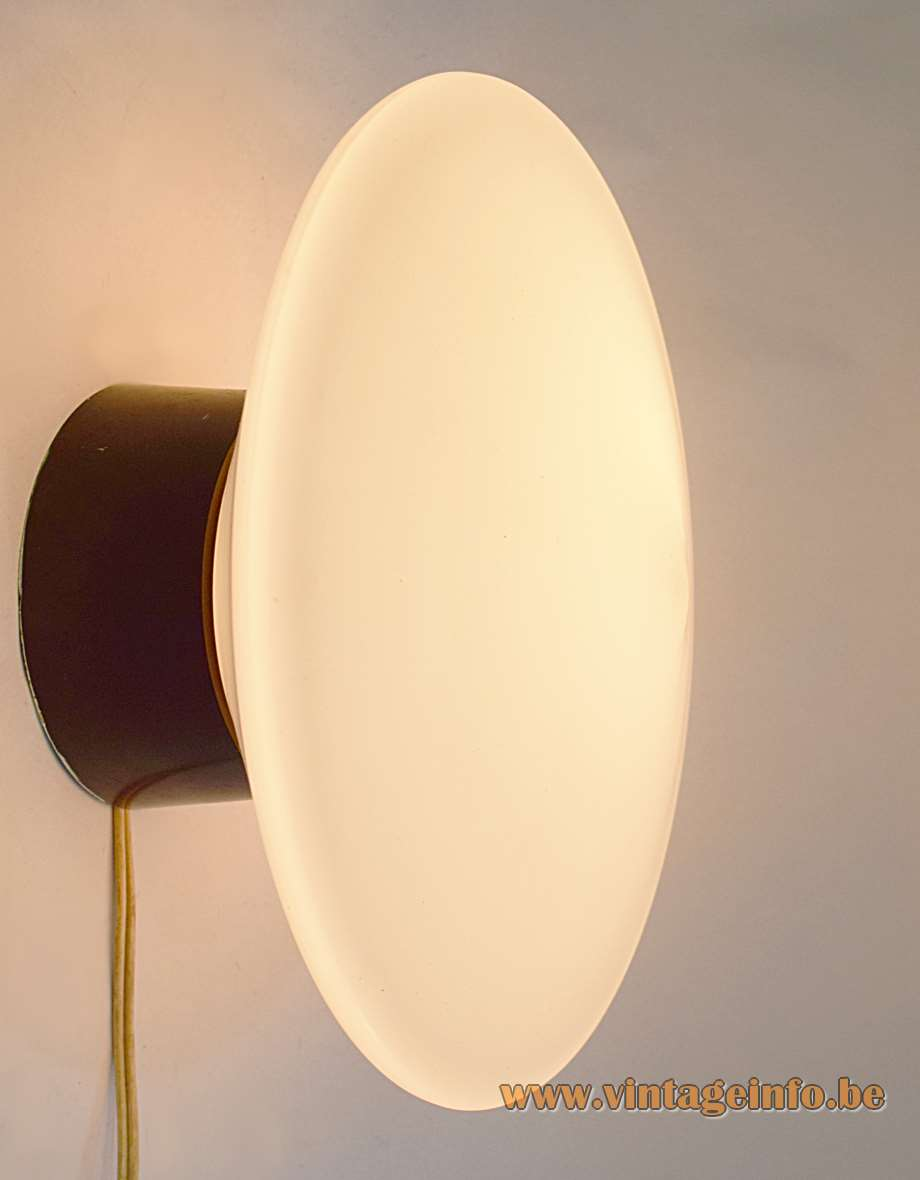 Raak Discus Flush Mount Wall Lamp opal frosted glass UFO Bakelite 1950s 1960s MCM
