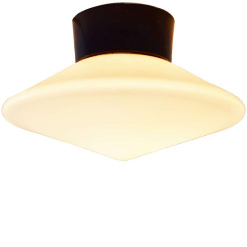 Raak Discus flush mount wall lamp white opal frosted glass disc lampshade black Bakelite 1950s 1960s