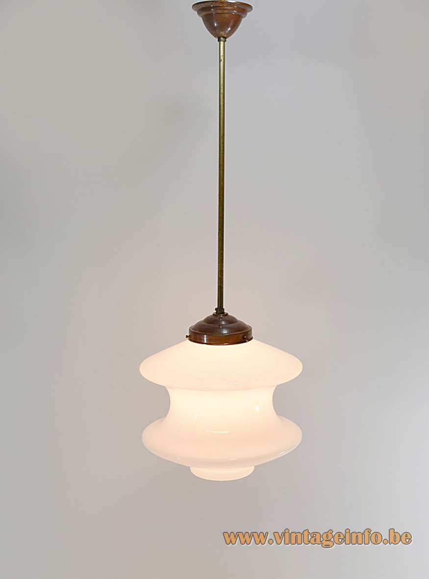 Raak Meerpaal pendant lamp white opal glass bollard lampshade brass rod 1960s 1970s Amsterdam The Netherlands