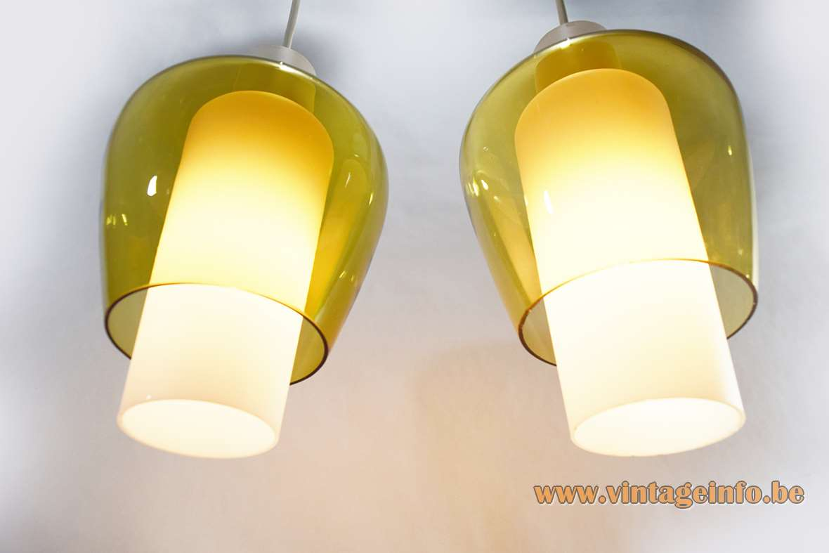 Raak Suomi Pendant Lamps, design Tapio Wirkkala, 1950s, 1960s, opal and yellow glass, two parts, iittala