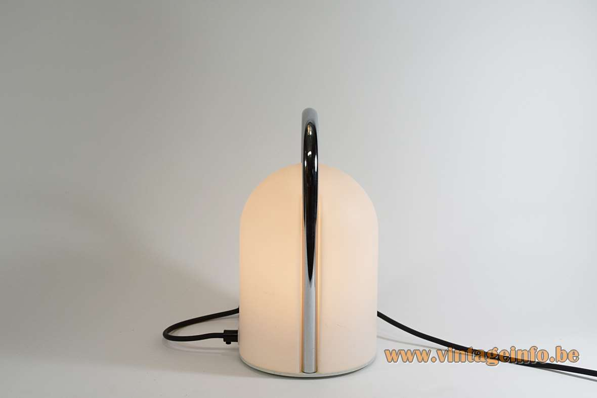 Romolo Lanciani Tender table lamp frosted opal glass lampshade chrome handle Tronconi 1970s design Italy