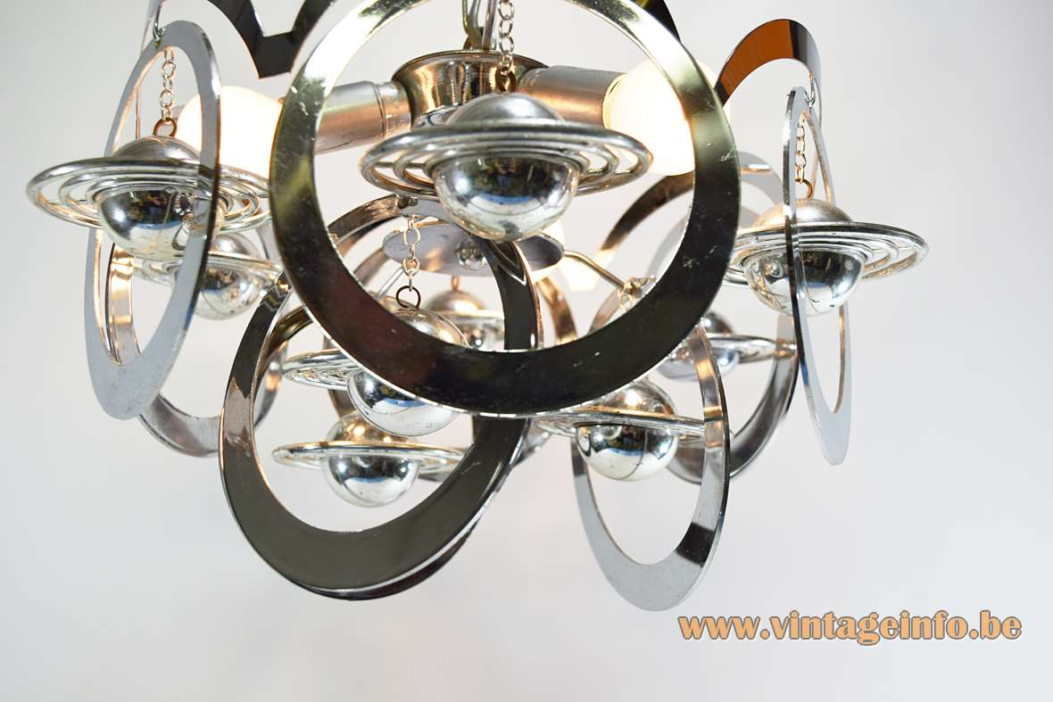 1960s chrome Saturn chandelier metal rings orbiting plastic planets space age iron chain 3 E14 sockets