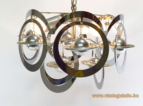 1960s Chrome Rings Saturn Chandelier