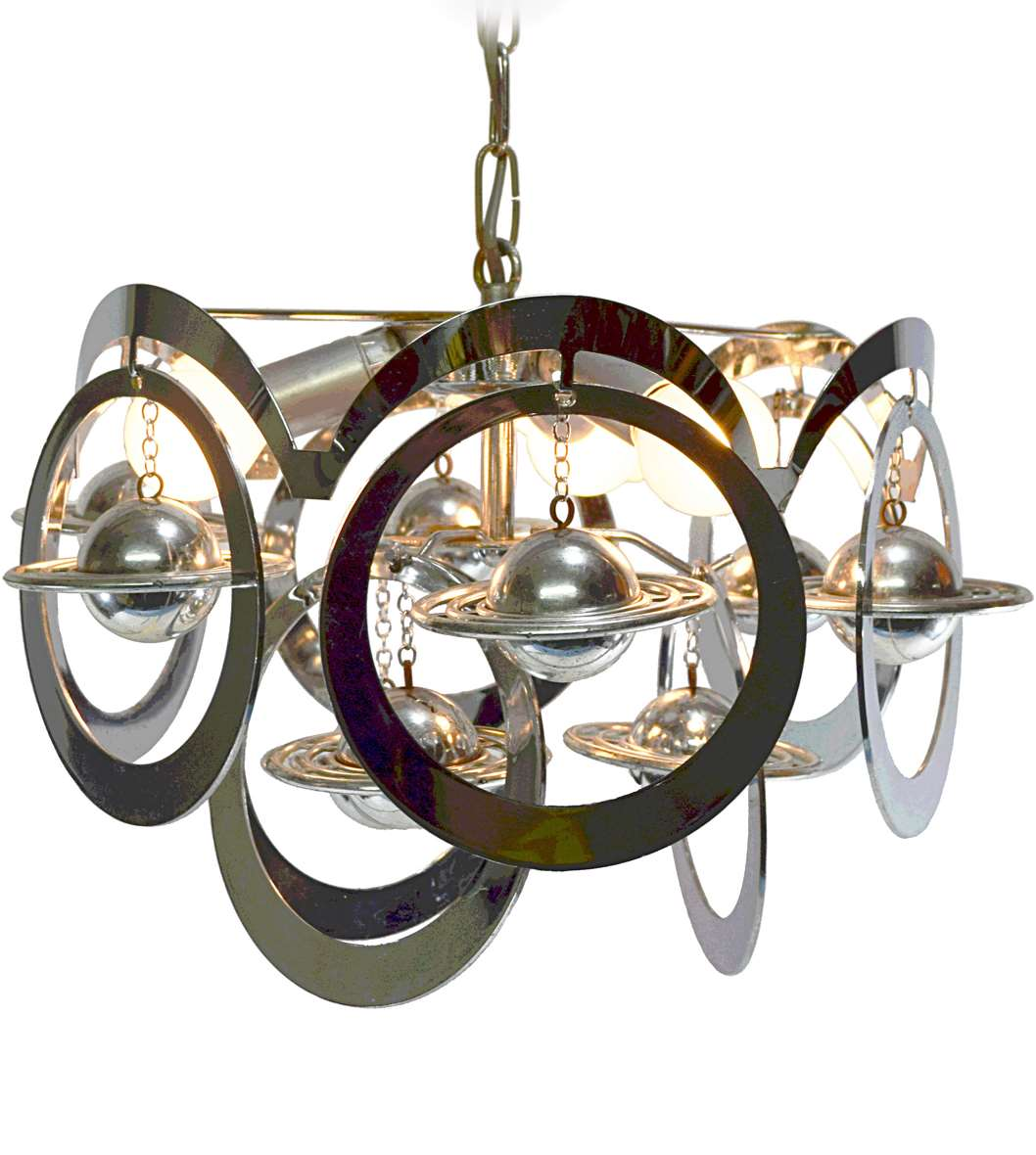 1960s Chrome Rings Saturn Chandelier planets plastic MCM 1970s Space Age circling orbiting