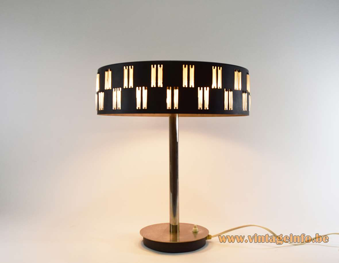 1960s Schmahl & Schulz table lamp black mushroom lampshade small glass rods chrome base design: Petersen Germany