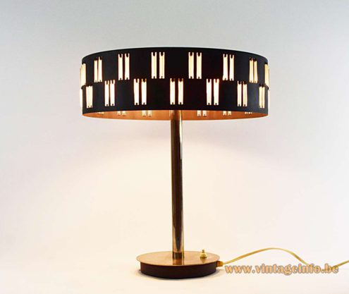 1960s table lamp desk lamp glass tubes rods lampshade metal Design: Petersen Schmahl & Schulz Germany MCM Mid-Century Modern 1970s