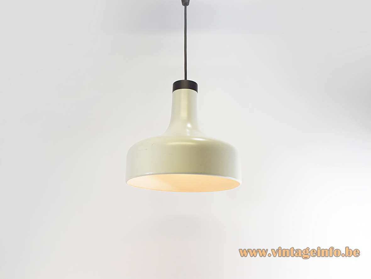 Staff aluminium pendant lamp 5405 white metal lampshade black plastic top 1970s Staff Leuchten Germany